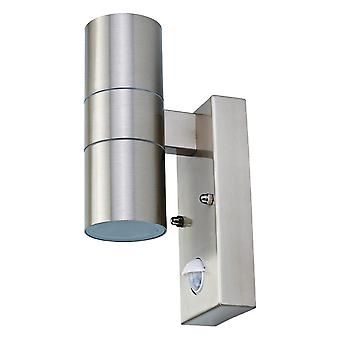 Charles Bentley Outdoor Outside Garden Stainless Steel Twin Spotlight Security Wall Light PIR Motion Detector