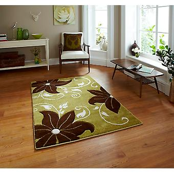 Green & Brown Motif Modern Rug Felice