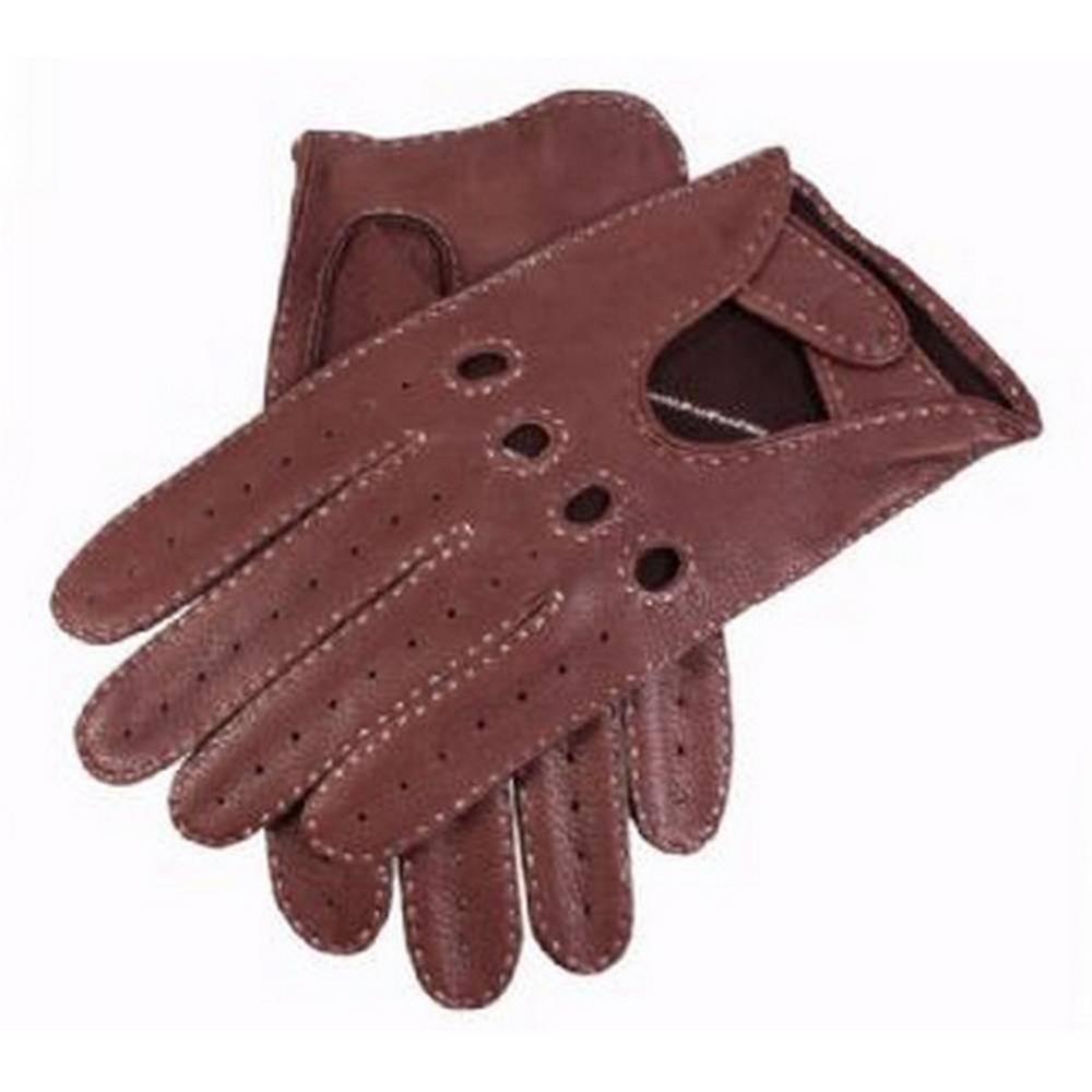Dents Bark Deerskin Leather Driving Gloves - Brown