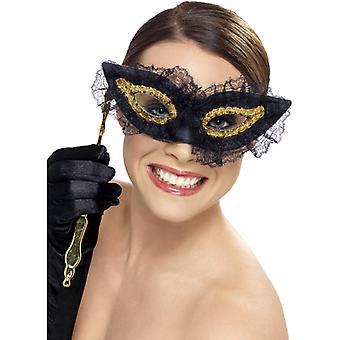 Eye mask eye mask with holder black gold Venezia eyes mask