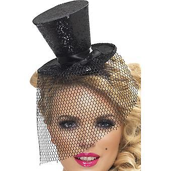 Minizylinder mit Schleier Zylinder mit Haarreif schwarz Hut