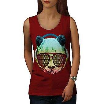 Music Fan Panda Bear Women Red Tank Top | Wellcoda