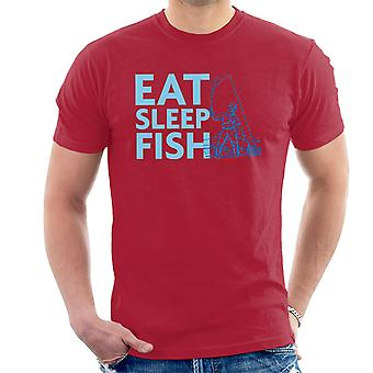 Eat Sleep Fish Blue Fisherman Men's T-Shirt