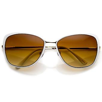 Damenmode-Metall Flare-Frame übergroße Sonnenbrille