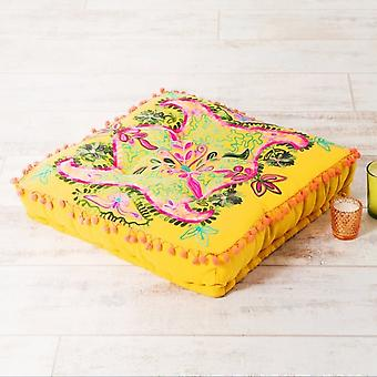 Boutique Camping Embroidered Suzani Square Floor Cushion - Yellow