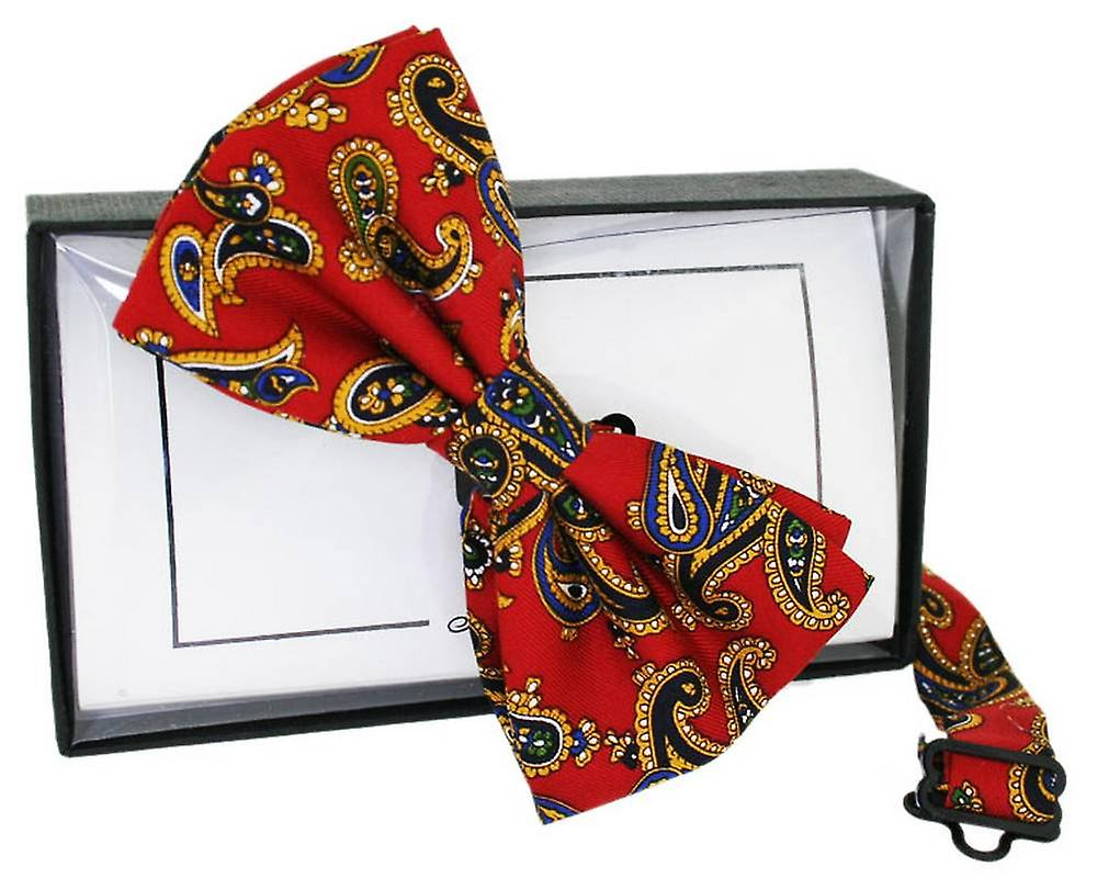 David Van Hagen Large Paisley Print Silk Bow Tie - Red