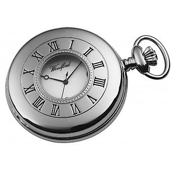 Woodford forkromet romertal halv Hunter Quartz Pocket Watch - sølv