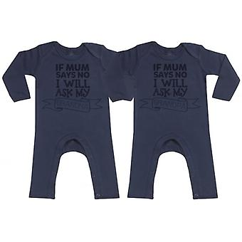 Spoilt Rotten If Mum Says No Ask Grandpa/Grandma Navy Baby Footless Romper Twins Set