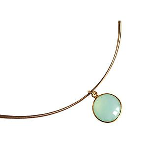 Chalcedony gemstone necklace silver gold plated chalcedony necklace