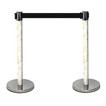 Retractable Queuing Barrier Posts Marble Effect - Pack of 2