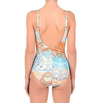 David DA7-077 Women's Deco Orange and Blue Shaping Swimsuit