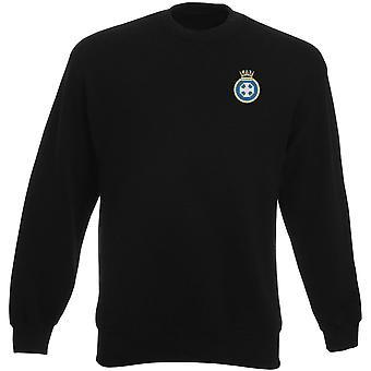 HMS Lindisfarne Stickerei Logo - offizielle königliche Marine Heavyweight Sweatshirt