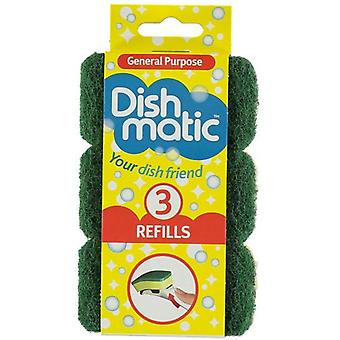 3x Heavy Duty Dishmatic Green Refill Sponges from Caraselle