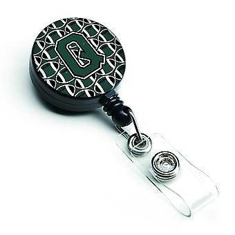 Letter Q Football Green and White Retractable Badge Reel