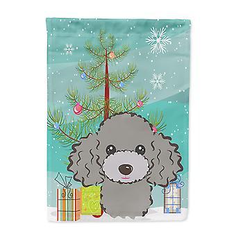 Weihnachtsbaum und Silber grau Pudel Flagge Haus Leinwandgröße