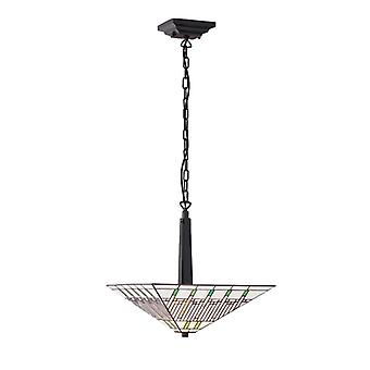 Mission Medium Tiffany Style Inverted Two Light Ceiling Pendant - Interiors 1900 70380