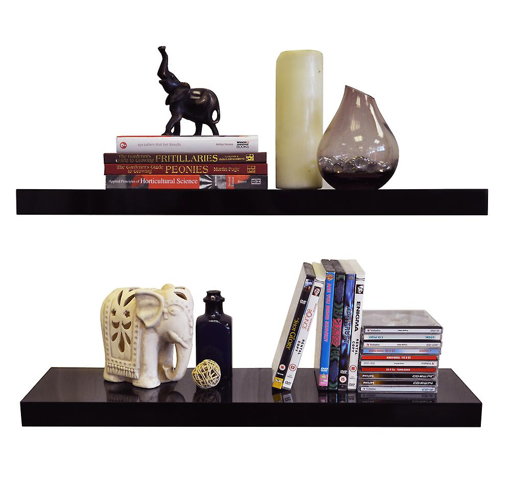 Gloss - Wall Mounted 70cm Floating Shelves - Pack Of Two - Black