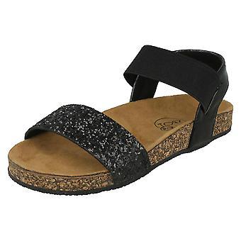 Girls Spot On Glitter Mules - Black Textile - UK Size 11 - EU Size 29 - US Size 12