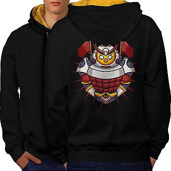 Knight Colorful Men Black (Gold Hood)Contrast Hoodie Back | Wellcoda