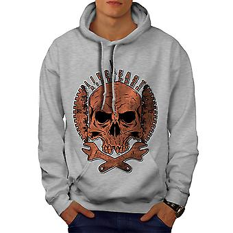 Living Life Biker Skull Men GreyHoodie | Wellcoda