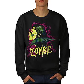 Crow Death Skull Men BlackSweatshirt | Wellcoda