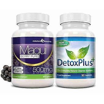 Maqui Berry and Detox Cleanse Combo Pack - 1 Month Supply - Antioxidant and Colon Cleanser - Evolution Slimming