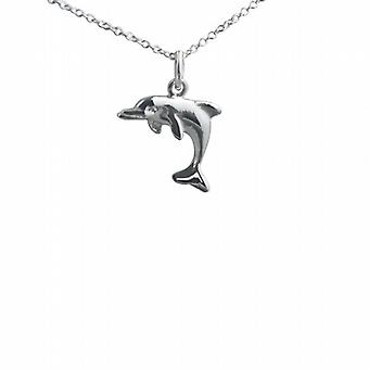 Silver 14x17mm leaping Dolphin Pendant with a rolo Chain 24 inches