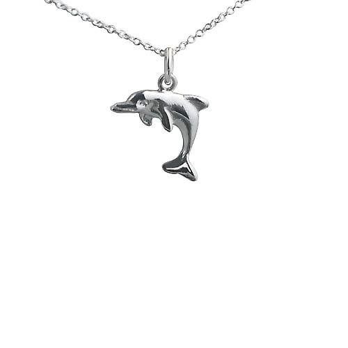 Silver 14x17mm leaping Dolphin Pendant with a Rolo chain