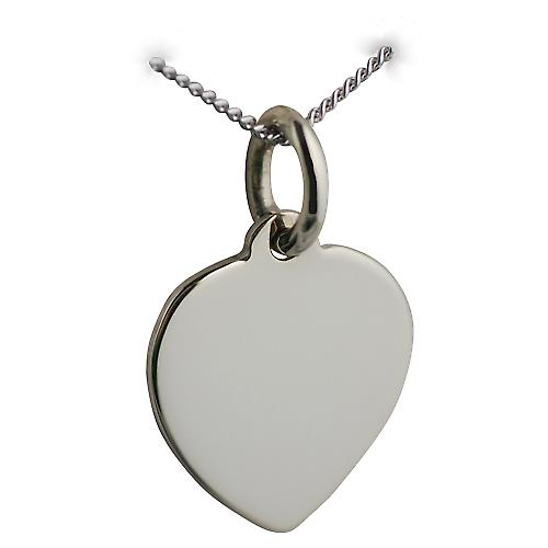 9ct White Gold 16x14mm plain Heart Disc with a Curb Chain