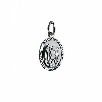 Silver 14x11mm oval Our Lady of Sorrows Pendant