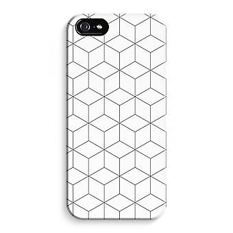 iPhone 5C Full Print Case - Cubes black and white