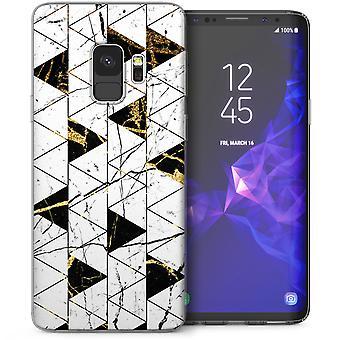 Samsung Galaxy S9 marmeren abstracte driehoeken TPU Gel Case - wit