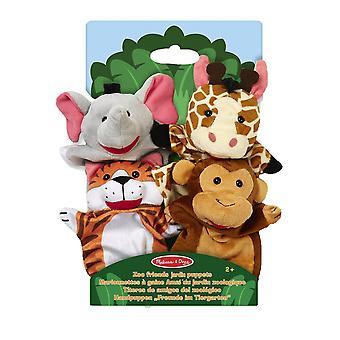 Melissa & Doug Zoo Hand Puppets Elephant Giraffe Tiger Monkey