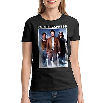 Pineapple Express farve plakat kvinders sort T-shirt