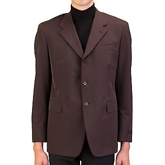 Prada Men's Polyester Three-Button Sportscoat Jacket Dark Brown