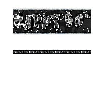 Fødselsdag Glitz sort & sølv 90 års fødselsdag prisme Banner