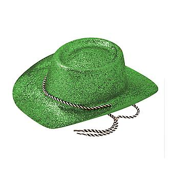 Green Glitter Cowboy Hat St Patricks Day Irish Wild West Fancy Dress Accessory