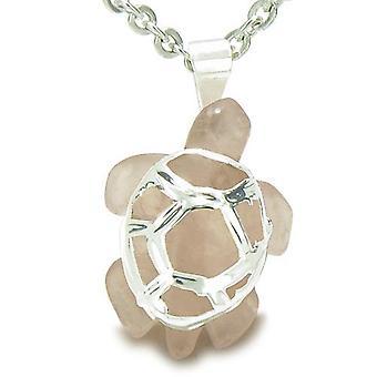 Brasilianische Crystal glückliche Schildkröte Rosenquarz Liebe treibt Amulett Charm Anhänger Halskette