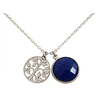Gemshine - ladies - - pendant - tree of life necklace - 925 Silver - sapphire - blue - 45 cm