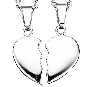 2 chain with split follower Heart Necklace stainless steel 45 cm partner charms
