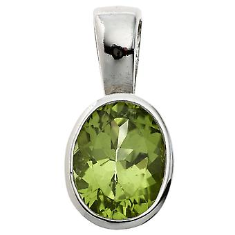 Green Peridot pendant 925 sterling silver rhodium plated 1 Peridot Green