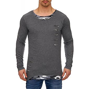 Tazzio fashion men's longsleeves anthracite-camouflage
