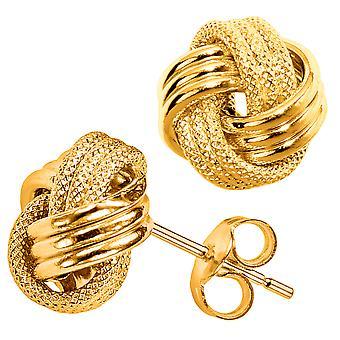 10 k Gelb Gold glänzend und strukturierte Triple Zeile Love Knot Ohrstecker, 10mm
