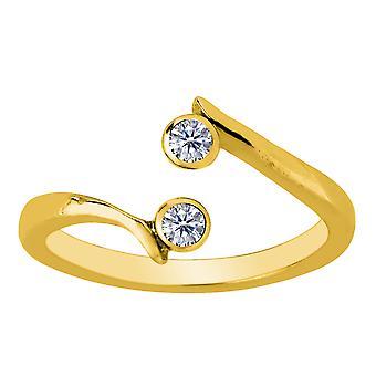 14K gult guld dubbel patiens med CZ av Pass stil justerbar Toe Ring