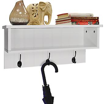 New England - Wall Mounted Hall Rack With Storage And 3 Coat Hooks - White