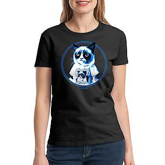 Gato gruñón gruñón en negro camiseta divertida camiseta mujer
