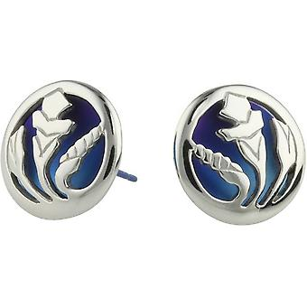 Ti2 Titanium Morning Glory Flower Stud Earrings - Blue