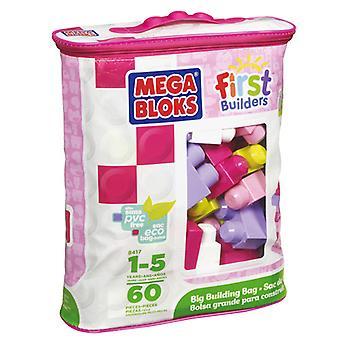 Mega Bloks erste Erbauer Blokkentas 60 Stück rosa