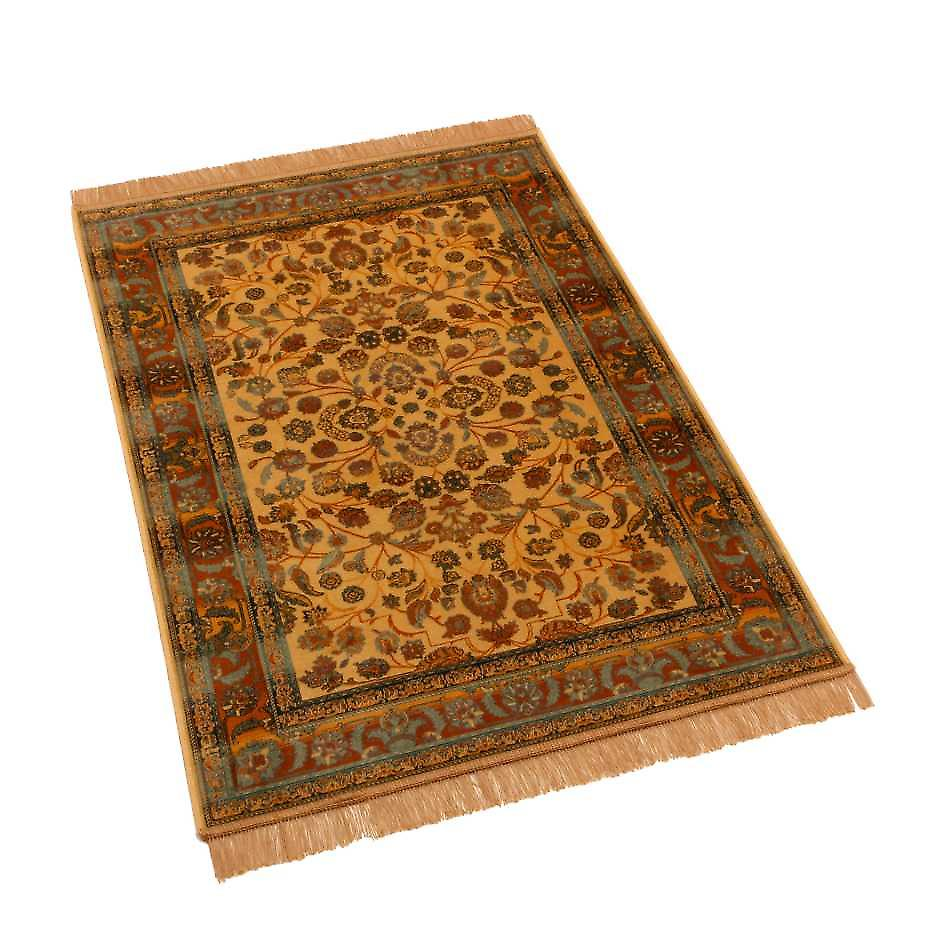Gold Afghan Ziegler Artificial Faux Silk Effect Rugs 5663/41 100 x 140cm
