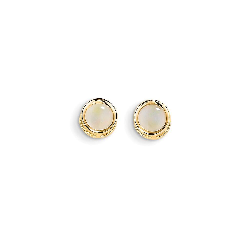 14k jaune or Polished Post boucles d'oreilles 5mm Bezel Simulated Opal Stud boucles d'oreilles